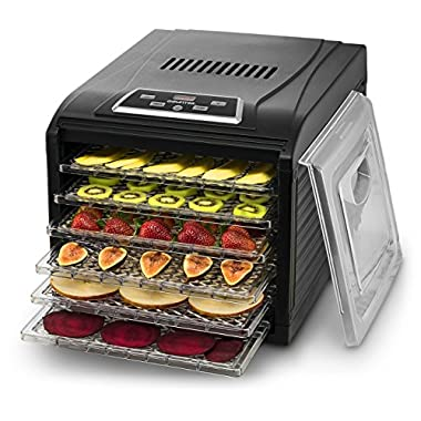 Gourmia GFD1650B Premium Countertop Food Dehydrator, With 6 Drying Shelves, Digital Thermostat, 8 Preset Temperature Settings, Airflow Circulation, Countdown Timer, Free Recipe Book Included - Black
