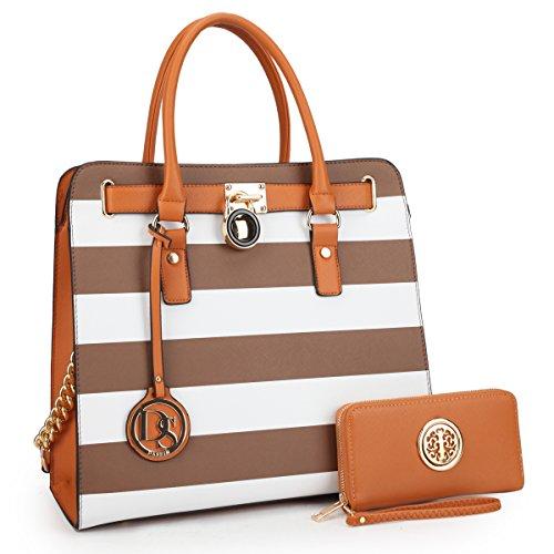 Tote Pocket Lined Two Fully (DASEIN Fashion Top Belted Tote Satchel Designer Padlock Handbag Shoulder Bag for Women (2553w-coffee stripe))