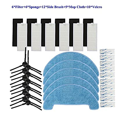 Replacement Accessory Parts for ILIFE A4 Robot Vacuum - 6 pcs Hepa Filter 6 Pcs Sponge Filter 12 Pcs Side Brush 5 Pcs Mop Cloth And 10 Pcs Magic paste