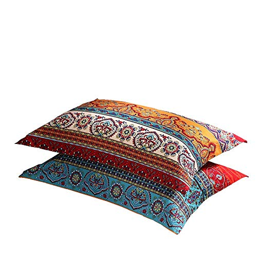 - LELVA Boho Pillow Cases Set of 2 Piece Queen Standard Colorful Bohemian Striped Pillowshams 100% Cotton Brushed Pillow Covers Pillow Protectors 20
