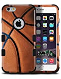 iPhone 6s, iPhone 6 Case with [FREE 9H Tempered Glass Protector] Full Body Protection [2-in-1] Package by MyTurtle® Shockproof Protective Shell Cover (Basketball)