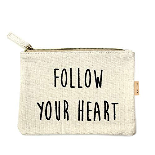 Me Plus Eco Zipper Pouch Stylish Printed, Traveler Organizer, Cosmetic Small Makeup, Students BTS Organization Bag (FOLLOW YOUR HEART) ()