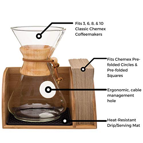 Chemex Coffee Maker Organizer with Silicone Mat | Eco-friendly, Durable & Water Resistant Bamboo | Designed for Baratza Encore Burr Grinders, Chemex Coffee Makers & Chemex Filters by Drip & Brew Coffee Company (Image #3)