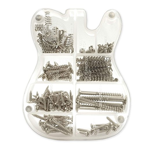 MAKA Guitar Screw Kit Assortment with Custom Acrylic Storage Box for Electric Guitar Bridge, Pickup, Pickguard, Tuner, Switch, Neck Plate, with Springs, Chrome