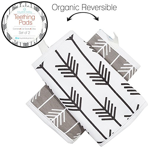 Kaydee Baby Organic Cotton Reversible Teething, Drool & Dribble, Chew Pads w/Organic Fleece Inner Lining for Baby Carriers for Girls and Boys (Arrows) - 2 Pack