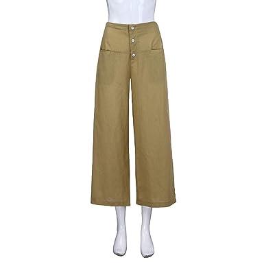 57d52d86de5a9 Women High Waist Cotton Linen Pants Palazzo Wide Leg Culottes Trousers Loose