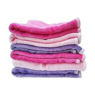 """Baby Washcloths by Baby Tooshy. Soft & Organic Cloth Wipes Made of Bamboo & Cotton Velour. Effective for Newborn/Sensitive Skin. Suitable for Bath & Diaper Changes. 6 Per Set. XL Size 10x10"""". Pinks"""