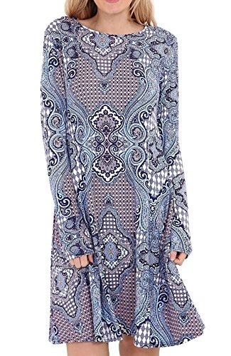 Cintre Rimi Robe Pour Femmes Patineur Swing Imprimé Dames Fantaisie Overlay Paisley Fared Top Robe S / Xxxl Paisley Bleu Superposition