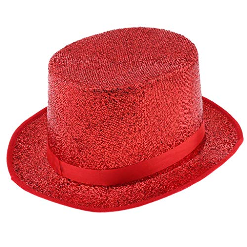 Magicain Top Hat Glitter Sequins Top Hat Magician Cap Fancy Dress Stage Performance Props - Red ()