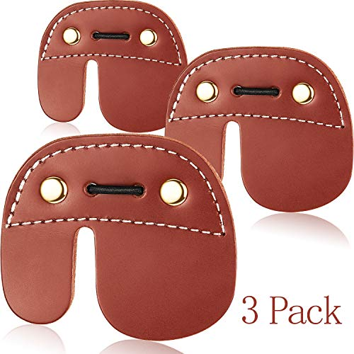 Gejoy 3 Pieces Leather Archery Finger Tab Right Handed Finger Tab Archery Hunting Finger Protector for Recurve Bow, Brown
