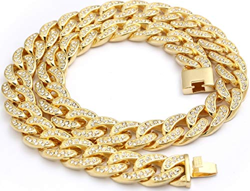 Best Collection- 14k Gold Plated Iced Out 18mm Cuban Chain-Mens Hip Hop Necklace (Gold, 24) ()