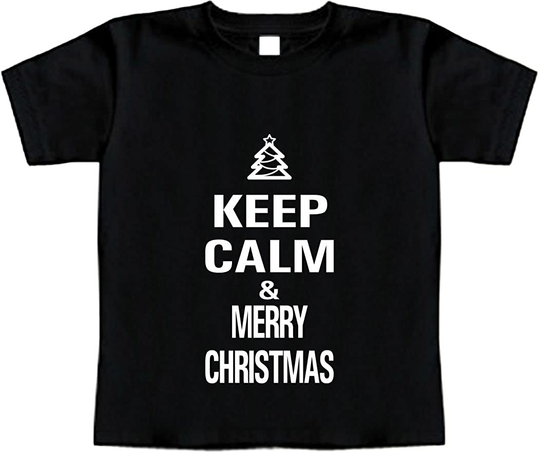 Toddler Tee Shirt Keep Calm and Merry Christmas Signature Depot Funny Baby T-Shirt