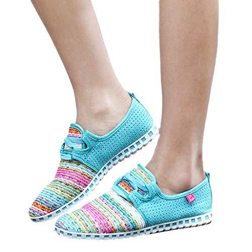 - kaifongfu Non-Slip Shoes for Women Light Flat Sneakers Weaving Shoes(Light Blue,39)