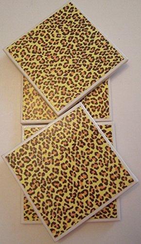 (Handmade Trendy Ceramic Tile Coasters - Cheetah Animal Print - Set of 4 Drink Coasters - Unique and Handmade)