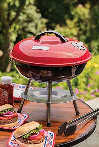 Cuisinart CCG-190RB Portable Charcoal Grill, 14-Inch, Red Renewed
