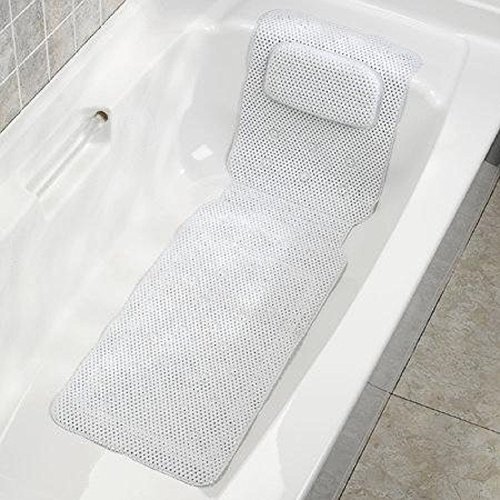 AquaTouch Full Length Tub Mat with Headrest, White 14.5' x (Ginsey Bath Mat)