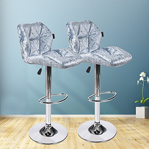 Set of 2 Bar Stools Modern Hydraulic Adjustable Swivel Barstools,Flannel Padded with Back, Dinning Chair with Chrome Base Blue Flannel