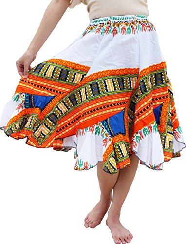 Raan Pah Muang RaanPahMuang Carved Patch Dashiki Print Short Capri Elastic Waist Dancing Skirt, Medium, White Orange