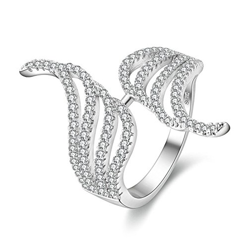 Uloveido Fancy Angel Wings Open Rings White Gold Plated Pave Cubic Zirconia Rings Best Gift Ideas for Women Girl Sister Friendship(Size 6 7 8 9) PJ4270-6