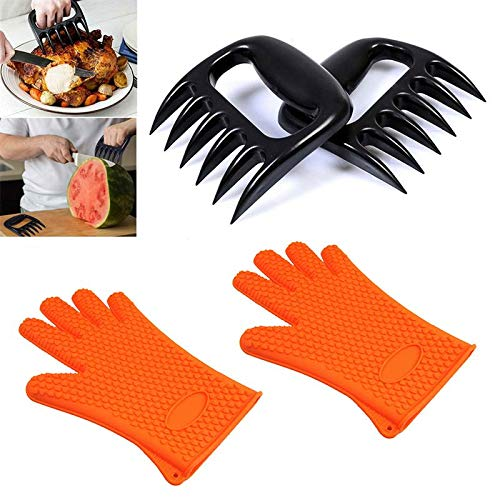 Silicone Bakeware Set Solutions (2pcs Heat Resistant Silicone Cooking Gloves And Meat Shredder Pulled Pork Claws Set Grilling Baking - Silicone Cooking Gloves)