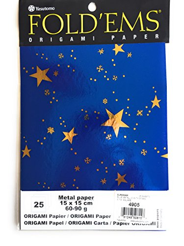 Origami paper blue foil paper with gold metallic stars 25 sheets 15cm x 15cm (5 7/8