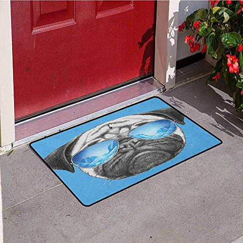 GloriaJohnson Pug Inlet Outdoor Door mat Pug Portrait with Mirror Sunglasses Hand Drawn Illustration of Pet Animal Funny Catch dust Snow and mud W15.7 x L23.6 Inch Pearl Blue Black