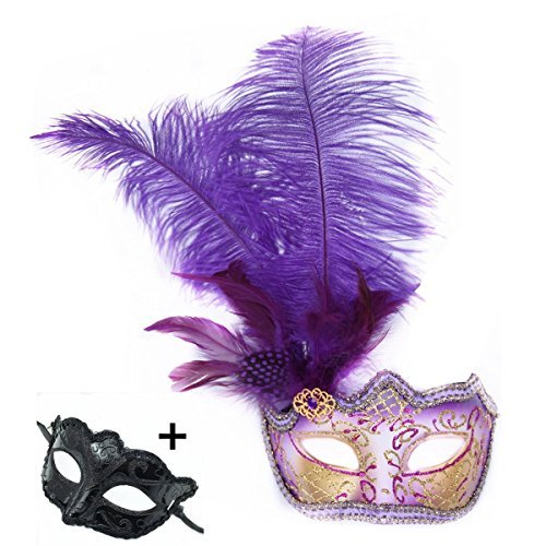 Purple Costume Feather Mask - Haojing Masquerade Carnival Mardi Gras Costume Venetian Halloween Party Mask with Feather Flower and Gift(Purple Feathers+G)