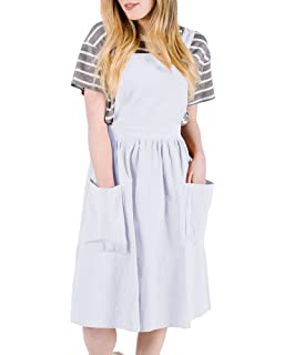 c025eab881 Ofenbuy Womens Casual Sleeveless Strap A Line Overall Pinafore Dress with  Pockets