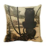 """Scary Halloween Black Cat Pillow Cover 18"""" X 18"""""""