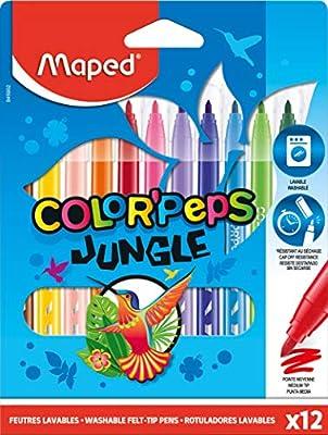 Rotuladores Jungle 2.0 X12 Estuche Carton, Maped 845902: Amazon.es: Oficina y papelería