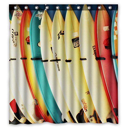 Custom Colorful Surfboard Waterproof Polyester Fabric Bathroom Shower Curtain with Ringstandard Size 66 X72 Inches (Surfboard Curtains Shower)