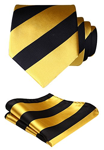 HISDERN Plaid Tie Handkerchief Woven Classic Stripe Men's Necktie & Pocket Square Set ,Yellow & Black,One Size ()