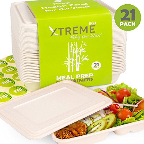 XtremepowerUS Prep Meal Lunch Containers Box with Lid, 3 Weeks, Disposable Fibers, Set of 21 Pcs