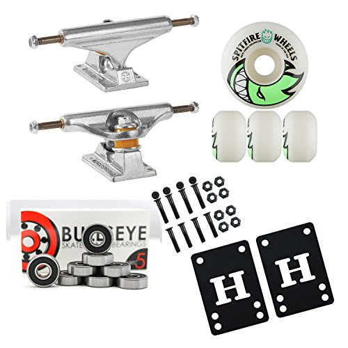 Independent Silver 149mm Truck Package Skateboard Spitfire Wheels 53mm Abec 7 Bearings