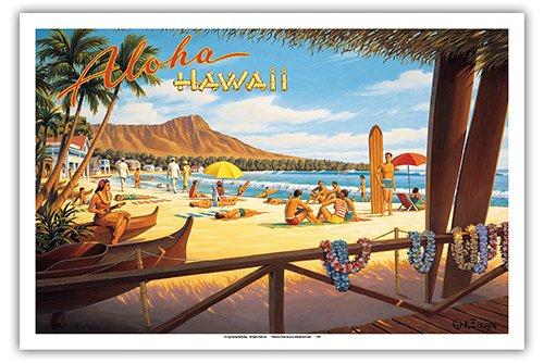 Aloha Hawaii - Diamond Head Crater - Royal Hawaiian Hotel - Waikiki Beach - Vintage Style Hawaiian Travel Poster by Kerne Erickson - Master Art Print - 12 x 18in