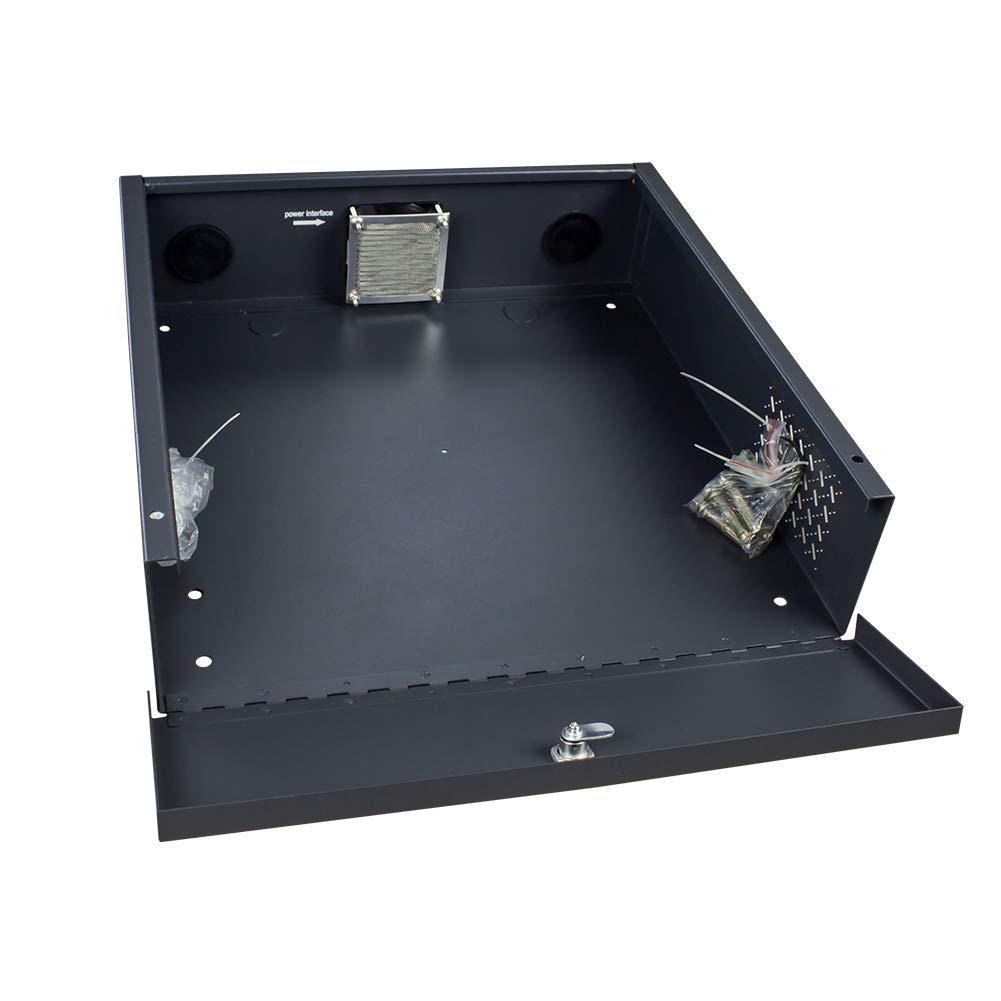 Wall or Floor Mount Enclosure Heavy Duty 16 Gauge Steel NVR & DVR Security Lockbox with AC Fan (15 x 15 x 5 Inches)