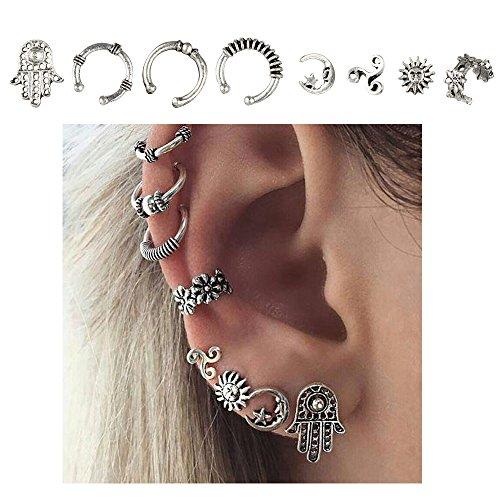 Cuff Earrings Set Ear Crawler Earring Climber Stud Ear Wrap Pin Vine Tribal Charm Vintage Clip On Jewelry Silver Hand Flower Sun Star Swirl - Vintage Pin Earrings