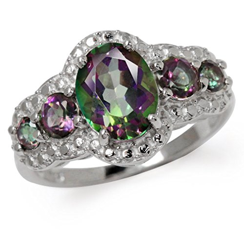 5.11ct. 5-Stone Mystic Fire Topaz White Gold Plated 925 Sterling Silver Ring Size 12 ()