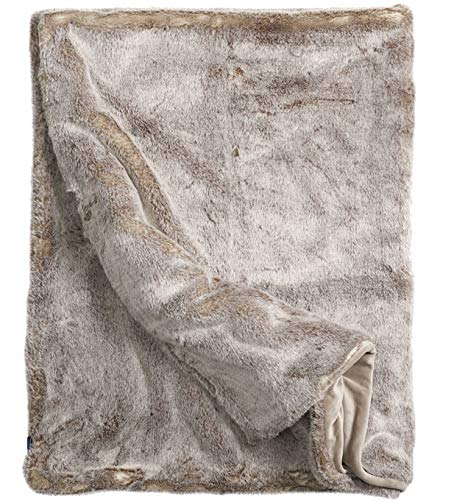 Lynx Faux Fur Throw Silky Soft Blanket with Plush Velvet Backing (Iced Mink) ()