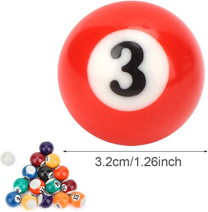 Keenso Mini Bolas de Billar de Resina Juguete de Bola de Billar para ni/ños ecol/ógico 16 Piezas 32 mm Mesa de Billar Bolas de Entrenamiento de Billar
