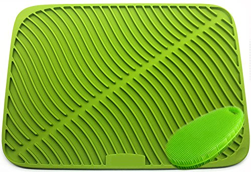 Extra Large 44x32cm Silicone Dish Rack, Dish Drying Mat, Holder, Trivet Mat, Heat Insulation, Non-Slip With a brush(green)