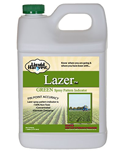 Liquid Harvest Lazer Green Spray Pattern Indicator - 1 Gallon (128 Ounces) - Perfect Weed Spray Dye, Herbicide Dye, Fertilizer Marking Dye, Turf Mark and Blue Herbicide (Gallon Marker)
