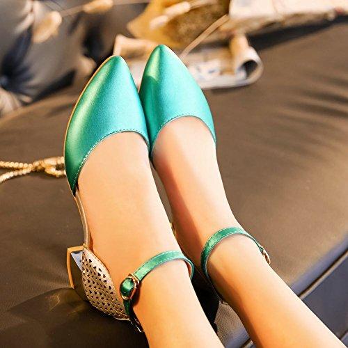 MissSaSa Donna Scarpe col Tacco con Cinturino a T Donna (37, Verde)