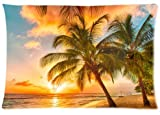 Fabulous Store Cutsom Rectangle Hawaii Summer Beach Palm Tree Sunset Scenery Pillow Cases Covers Standard Size 20x30(one side)