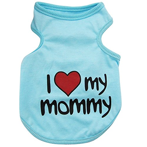 [Kuoser Fashion Small Pet Dog I LOVE MY DADDY MOMMY Cotton T- shirt Vest Spring Summer Dog tank Comfy Vest Pajamas Pet Costumes S-2XL,Blue] (Spider Costume Pattern Free)