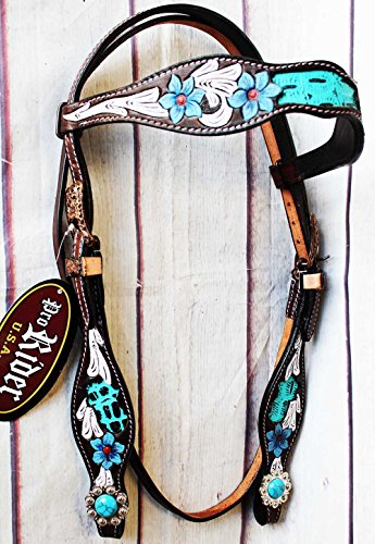 PRORIDER Horse Tack Bridle Western Leather Headstall Turquoise Equine 80193HB