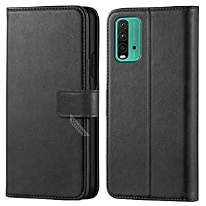 Strivex Artificial Leather Wallet Flip Back Cover Compatible for Redmi 9 Power – Obsidian Black