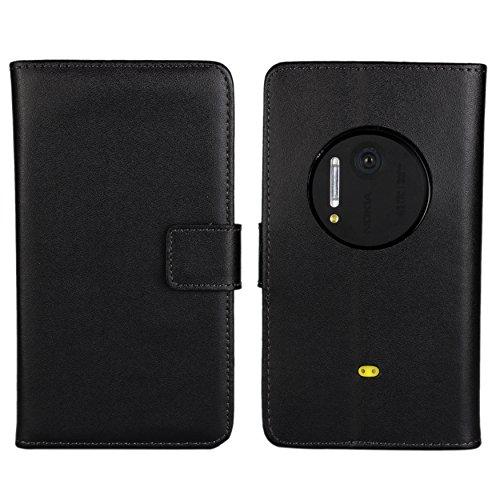 - Lumia 1020 Case, iCoverCase Genuine Leather Magnetic Flip [Card Slot] Wallet Cover Kickstand Case for Nokia Lumia 1020 (Black)