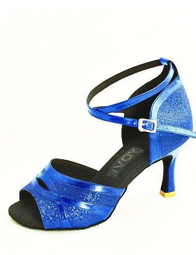ShangYi Customizable Women's Dance Shoes Latin/Salsa Leatherette Customized Heel Black/Blue/Red/Silver/Gold Silver sSA1PLOZ