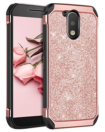 Moto G4 Case, Moto G4 Plus Case, BENTOBEN 2 in 1 Luxury Glitter Bling Hybrid Hard Cover Laminated with Sparkly Shiny Faux Leather Shockproof Bumper Protective Case for Moto G4/Moto G4 Plus, Rose Gold